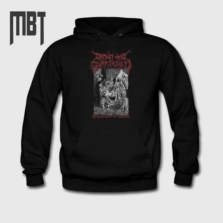 Drawn and quartered band hoodie drawn and quartered proliferation of disease cover hooded sweatshirt mbt merchandise